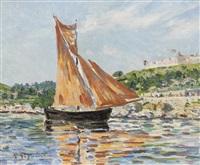 bateau a voile dans un paysage avec une citadelle dans le fond by auguste pegurier