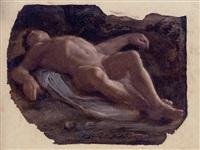 a reclining nude transfixed by an arrow, for a saint sebastian by pietro faccini