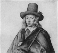 portrait of a man with tall hat by gerrit adriaensz de heer