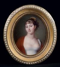 portrait de jeune femme en robe de soie blanche, les épaules couvertes d'un châle rouge by jean baptiste jacques augustin