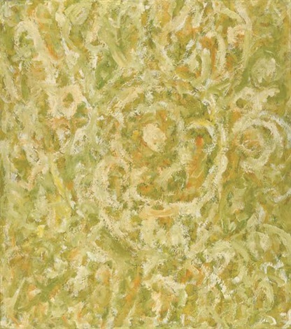 untitled yellow green and white abstraction by beauford delaney