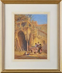 three women at a well in a piazza by charles vacher
