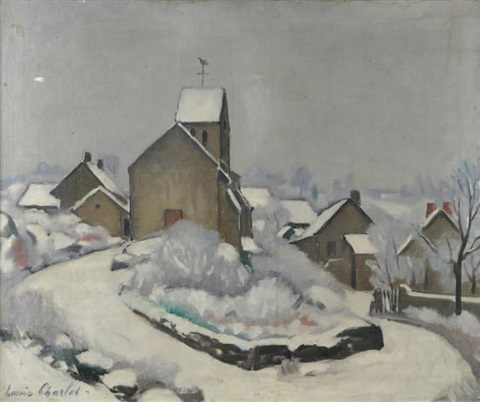 village du morvan sous la neige by louis charlot