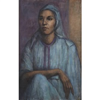 seated woman in blue by georges andre klein
