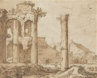 view of the forum of nerva from the temple of minerva, rome by pieter lastman
