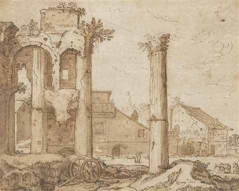 view of the forum of nerva from the temple of minerva rome by pieter lastman