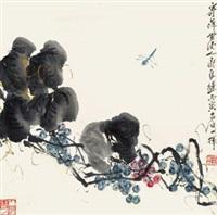葡萄蜻蜓 立轴 设色纸本 by qi liangchi