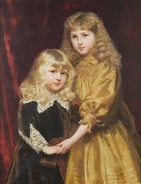 portrait of jessica and thomas frost, she in a gold silk dress, her brother in van dyck costume by alfred edward emslie