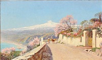 summer day in taormina with mount etna in the background by olaf viggo peter langer