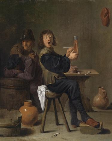 fröhlicher zecher im wirtshaus by david ryckaert iii