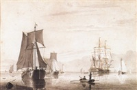 man-o-war and fishing vessels in calm seas by cornelis thim