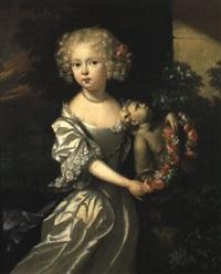 fillette ornant d'une guirlande de fleurs une statue de l'amour by aleijda wolfsen