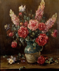 roses and summer flowers in a green jug on a table by owen bowen