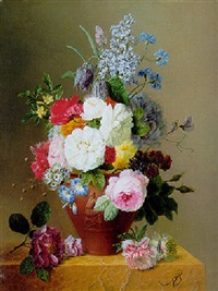 roses, poppies, cornflowers, convulvulus and other flowers in a vase on a stone ledge by arnoldus bloemers