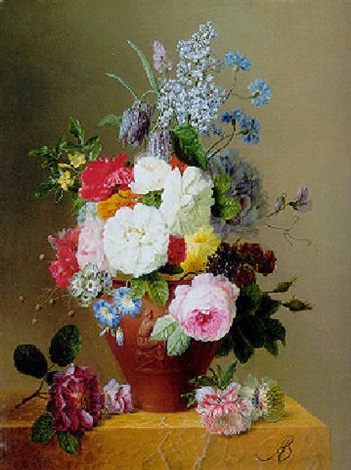 roses poppies cornflowers convulvulus and other flowers in a vase on a stone ledge by arnoldus bloemers