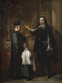 caballero ante un clérigo y el monaguillo by manuel rodriguez de guzman