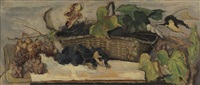 still life with grapes and harvest basket by henry varnum poor