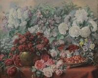 composition florales, cerises et groseilles by albert jacquemotte