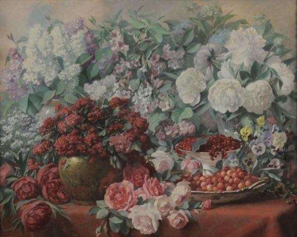 composition florales cerises et groseilles by albert jacquemotte