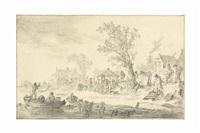 a market along a riverbank by jan josefsz van goyen