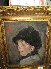 portret van een dame in profiel by hippolyte daeye