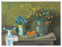 still life with flowers, plums and oranges 1998 by margaret hannah olley