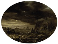 a moonlit river landscape with fishermen in choppy waters by abraham susenier
