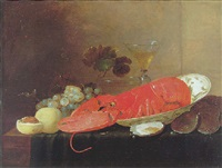 a still life of a lobster in a porcelain bowl beside a glass of wine, a glass bowl, grapes, peaches and oysters on a cloth on a table by pieter van overschee