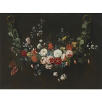 a flower garland of roses, anemones, jasmine and other flowers by frans ykens