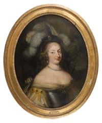 portrait de jeune femme au chapeau à plumes by louis ferdinand elle the elder