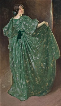 green girl, juliette very by john white alexander