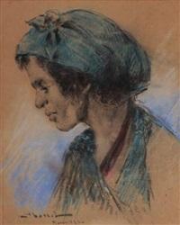marocaine de profil au turban bleu by carlos abascal