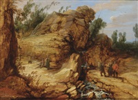 a rocky river landscape with travellers in the foreground by lucas achtschellinck