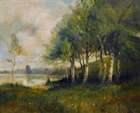 landscape with lake and birches by nicolas louis cabat