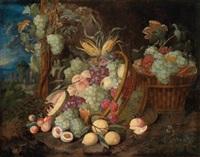ein prunkstillleben von trauben, zitronen, pfirsichen, feigen und einer melone by thomas mertens