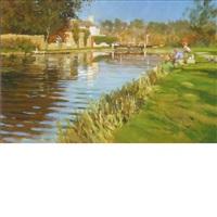 fishing at leighton lock by john haskins