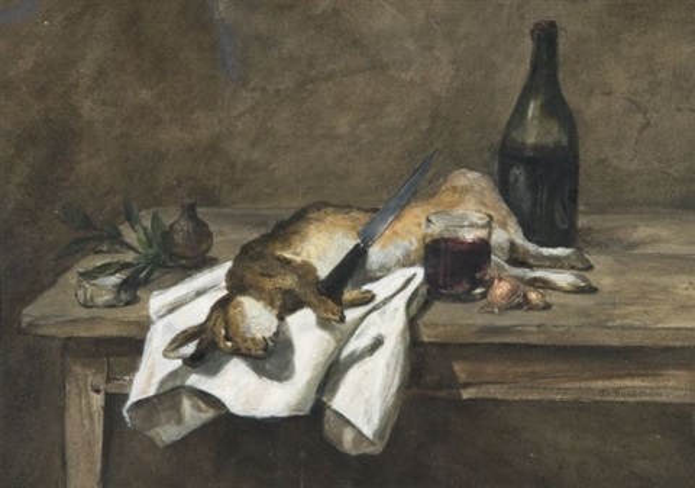 lièvre et bouteille de vin sur une table by philippe rousseau