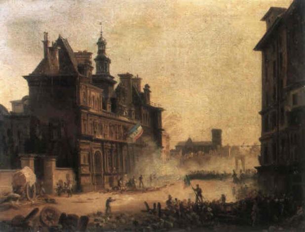 les barricades de 1830 sur la place de lhotel de ville by moya