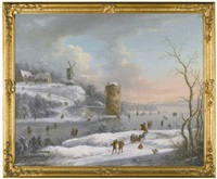 a winter landscape with figures skating on a river, a windmill beyond by johann (jan) christian vollerdt