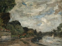boats on the thames at chiswick by montague smyth