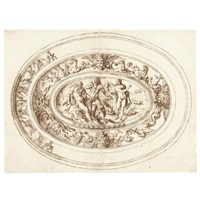 design for an elaborate dish with zeus taking the scythe from chronos in the central oval, surrounded by a band of sea horses and grotesque heads by jacopo strada
