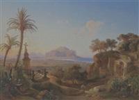 vista della città di palermo e del monte pellegrino by johann georg gmelin