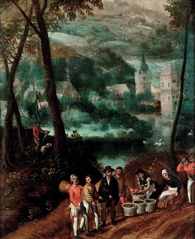 paysans au bord de la rivière by abel grimmer