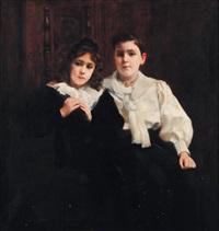 portraits de deux jeunes filles by paul alexandre alfred leroy