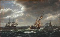 seascape with sailing ships in high waves by carl (jens erik c.) rasmussen