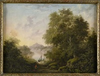 a wooded highland landscape with fishing boat on a loch by charlotte nasmyth