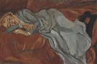 femme couchée sur un divan rouge by chaïm soutine