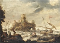 dutch smalschips inshore in heavy seas before a fortified island by bonaventura peeters the elder