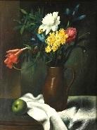 vaso in rame con fiori su un tavolo con una tovaglia e un frutto by gregorio sciltian