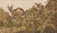 deux cervidés dans un paysage by antoine-louis barye